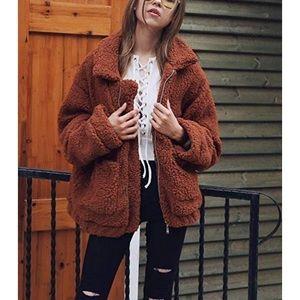 Jackets & Blazers - Faux Shearling Shaggy Winter Teddy Coat